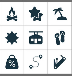 Tourism icons set with ski cabin flip flops star vector