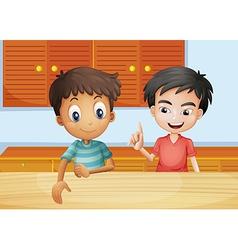 Two men inside kitchen vector
