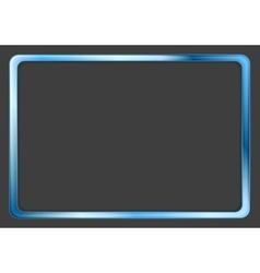 Vibrant blue neon frame on dark background vector