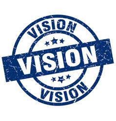 Vision blue round grunge stamp vector