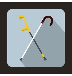 Walking cane icon flat style vector