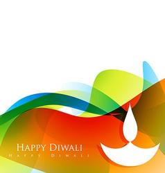 wave style diwali design vector image