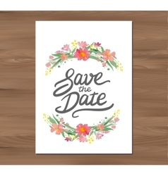 Wedding invitation with watercolor flowers vector