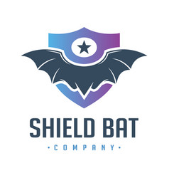 wild bat shield logo design vector image
