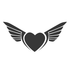 wing heart love stripes icon graphic vector image