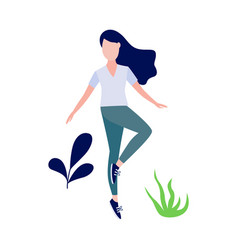 woman doing stretch exercise vector image