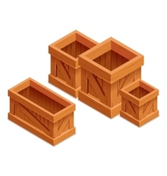 Wooden box isometric 3d realistic vector