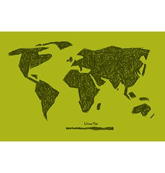 World Map on Green Background vector image