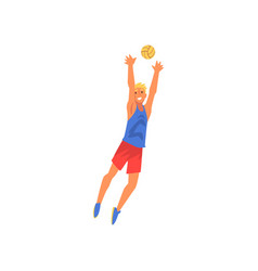 Young man playing with ball volleyball player vector
