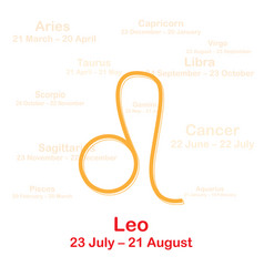 Zodiac sign leo on white background vector