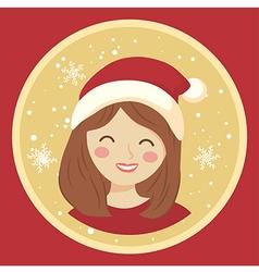 Circle Christmas Girl on Red vector image vector image