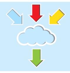 Cloud with color arrow vector image