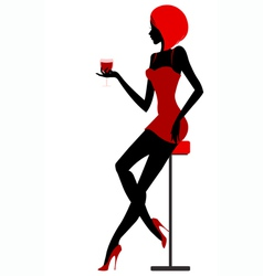 Girl sits in bar with glass in hand vector image