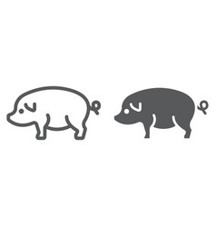 pig line and glyph icon farming and agriculture vector image