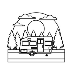 trailer home isolated in the forest vector image vector image