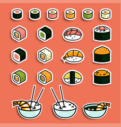 meal rolls sushi set vector image vector image