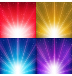 Abstract Color Backgrounds With Sunburst And Stars vector image vector image