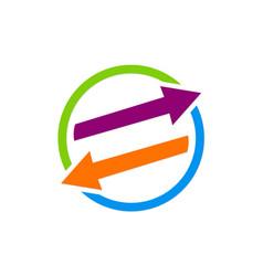 arrow exchange colored logo vector image vector image