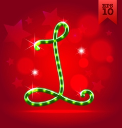 Electric green garland christmas new year abc vector image vector image
