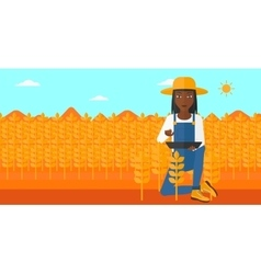 Farmer with tablet computer on field vector image vector image