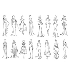 Girl in elegant evening and cocktail dresses icon vector image vector image