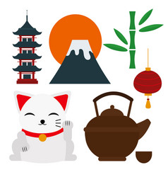 japan landmark travel icons collection vector image vector image