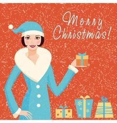 Christmas card with Santa girl vector image