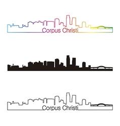 Corpus Christi skyline linear style with rainbow vector image vector image