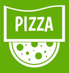 pizza badge or signboard icon green vector image vector image