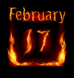 seventeenth february in calendar of fire icon on vector image vector image