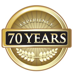 Seventy Years Experience Gold vector image