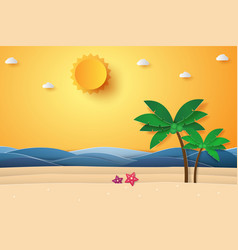 Summer time sea with beach and coconut tree vector