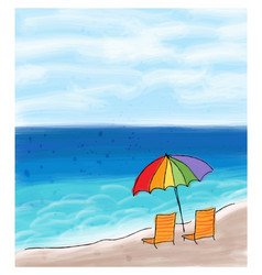 umbrella and chairs at the sea shore and the sea vector image