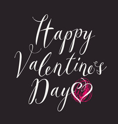 white inscription happy valentines day with hearts vector image vector image