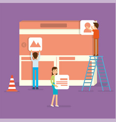 a front end specialist building website user vector image