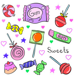 art of candy object various doodles vector image