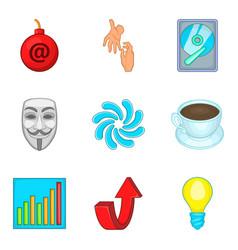 Bankrupt icons set cartoon style vector
