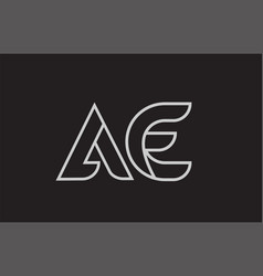 Black and white alphabet letter ae a e logo vector