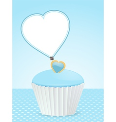 blue cupcake background and message label vector image