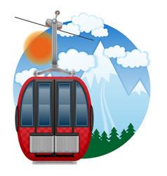 cabin ski cableway emblem vector image