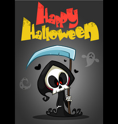 Cartoon of spooky halloween death with scythe vector