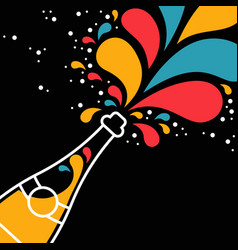Champagne party bottle splash in outline style vector