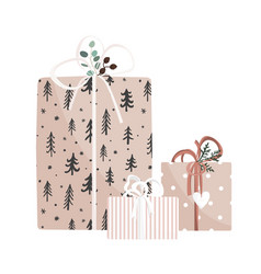 christmas and new year hand drawn gifts on white vector image