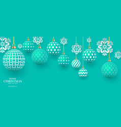Christmas gently green baubles with geometric vector
