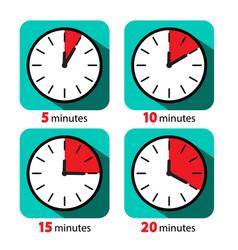 Clock icon stopwatch set five ten fifteen vector