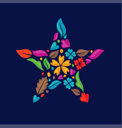 color flower shapes as a star vector image