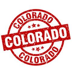 Colorado red round grunge stamp vector