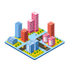 colorful 3d isometric city vector image
