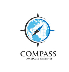 compass and globe logo vector image