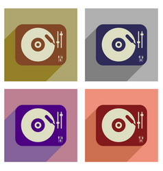 Concept of flat icons with long shadow retro vector